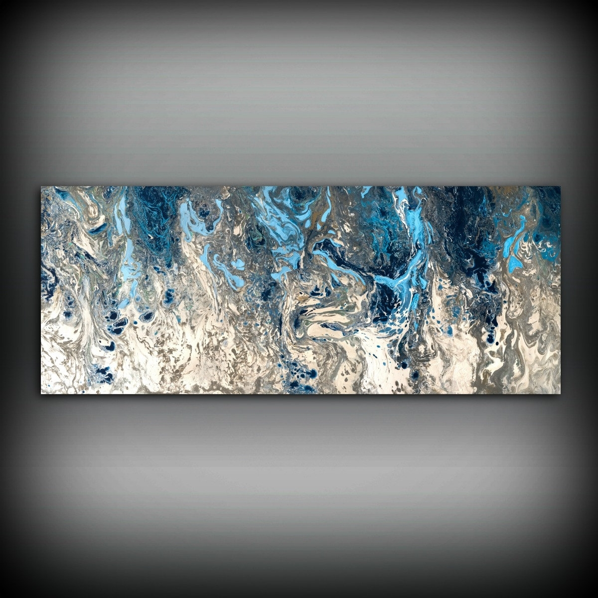 Original Painting, Navy Blue And Gray Painting Abstract Painting Throughout 2018 Blue Canvas Abstract Wall Art (Gallery 3 of 20)
