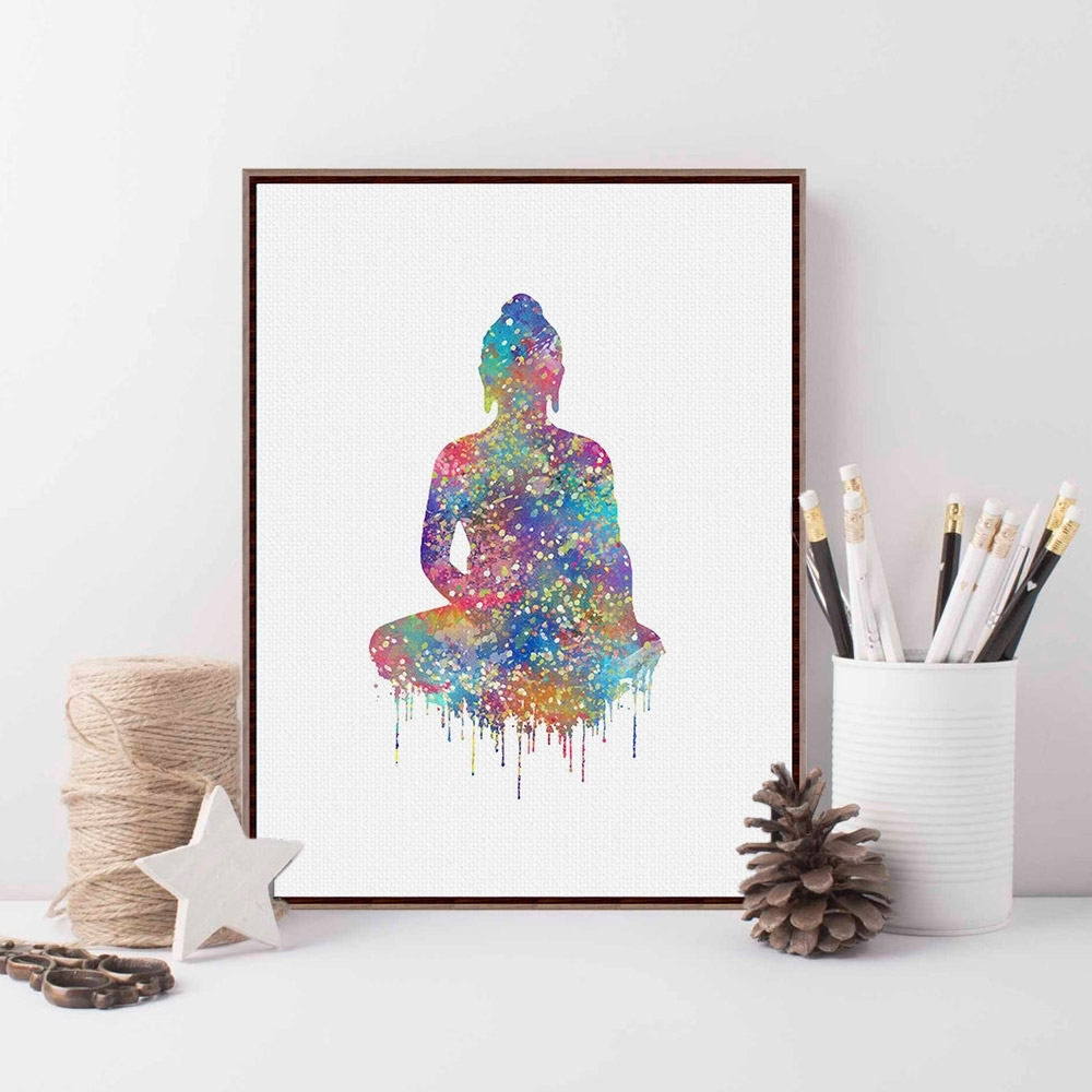 Original Watercolor Buddha Portrait Zen A4 Large Art Prints Poster With Regard To Most Recent Abstract Buddha Wall Art (View 18 of 20)