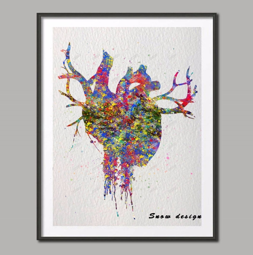 Original Watercolor Heart Anatomy Wall Art Canvas Painting Inside Most Up To Date Abstract Heart Wall Art (View 15 of 20)