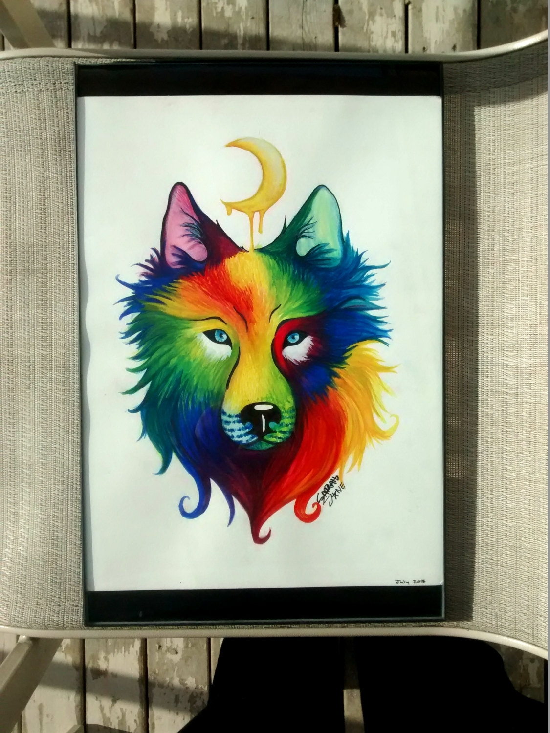 Original Watercolor Painting Artwork Of Rainbow Wolf, Animal Wall Pertaining To Best And Newest Abstract Animal Wall Art (View 4 of 20)