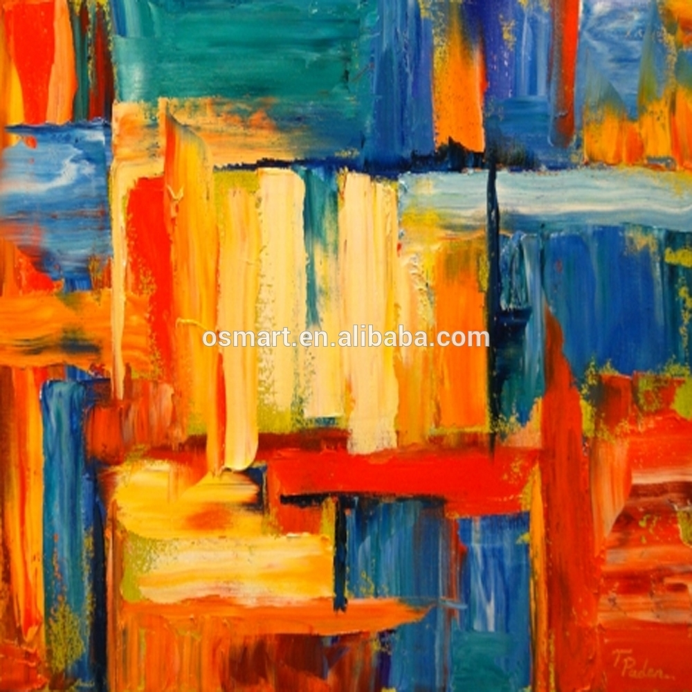 Osmart Cheap And High Quality 100% Handpainted Abstract Wall Art With Regard To Most Recent Bright Abstract Wall Art (View 16 of 20)