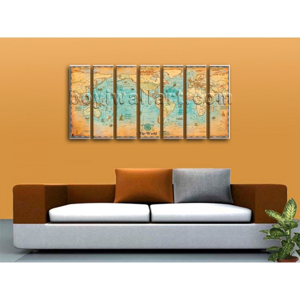 Oversized World Map Global Hd Canvas Print Retro Giant Picture with Most Current Giant Abstract Wall Art