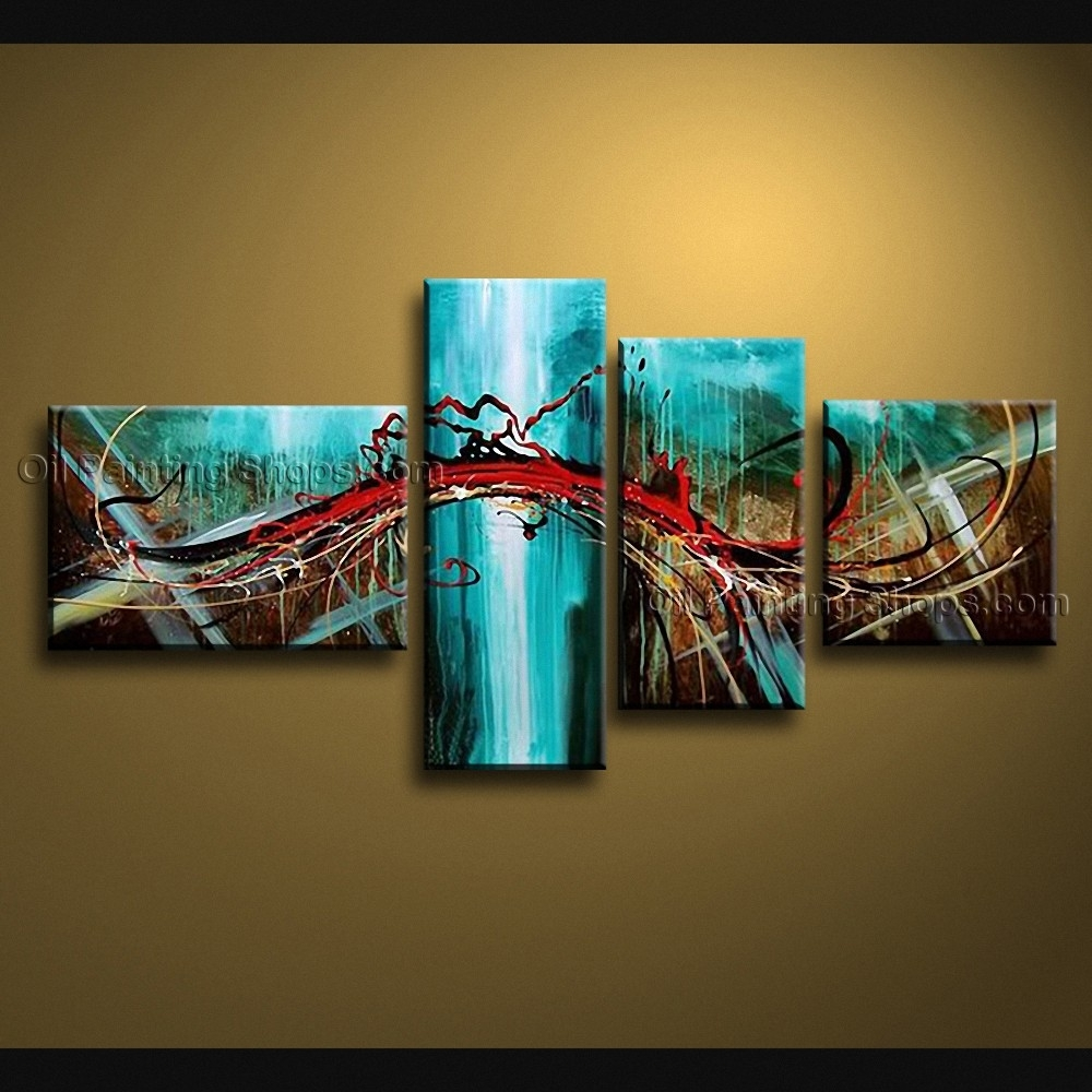 Painted 4 Pieces Modern Abstract Painting Wall Art Interior Design With 2018 Blue And Brown Abstract Wall Art (View 10 of 18)