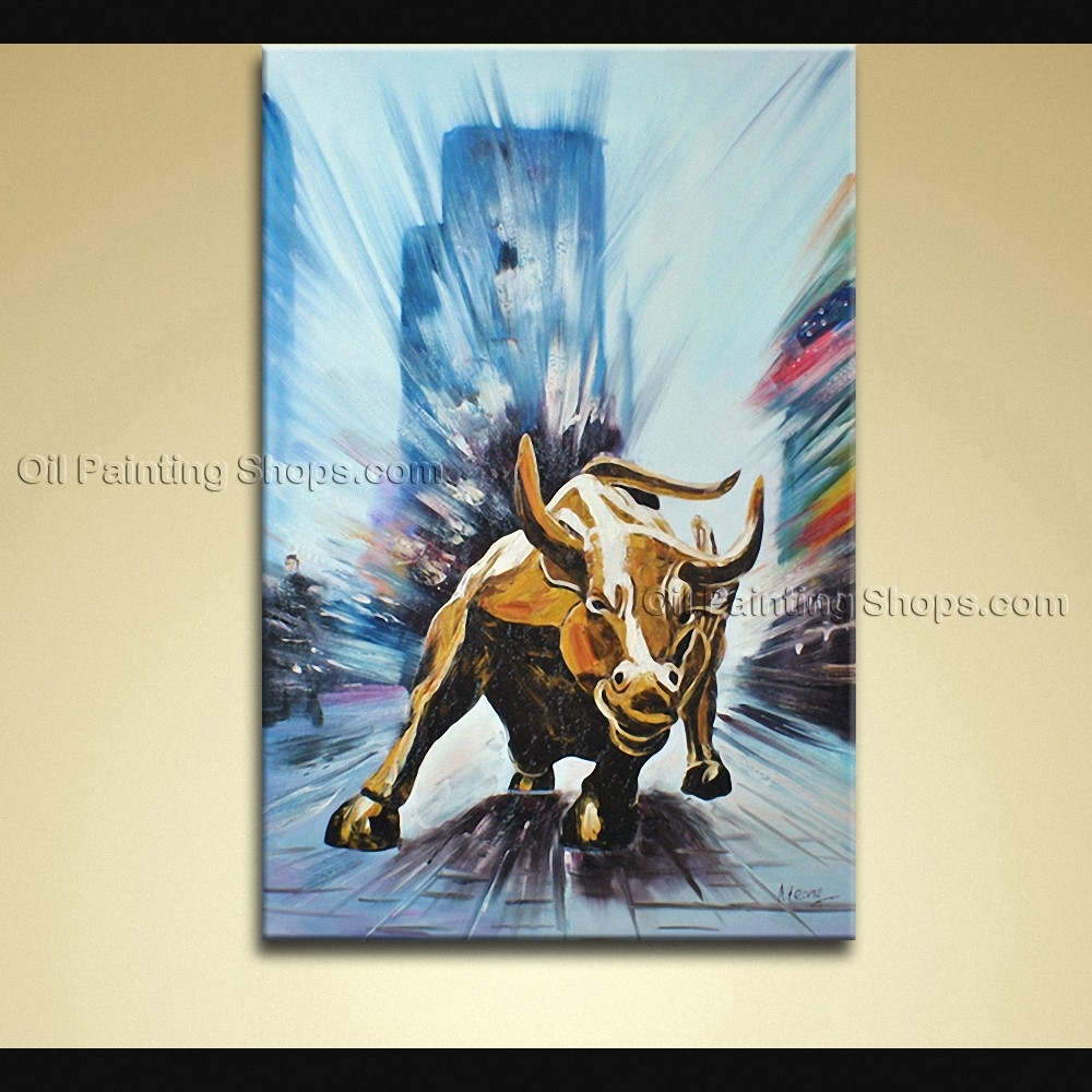 Painted Elegant Modern Abstract Painting Wall Art Wall Street Bull In Most Recent Abstract Animal Wall Art (View 10 of 20)