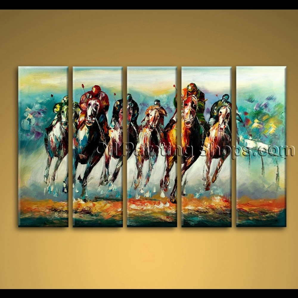 Painted Oil Painting On Canvas Abstract Horse Racing Wall Art Modern In Newest Abstract Horse Wall Art (View 15 of 20)