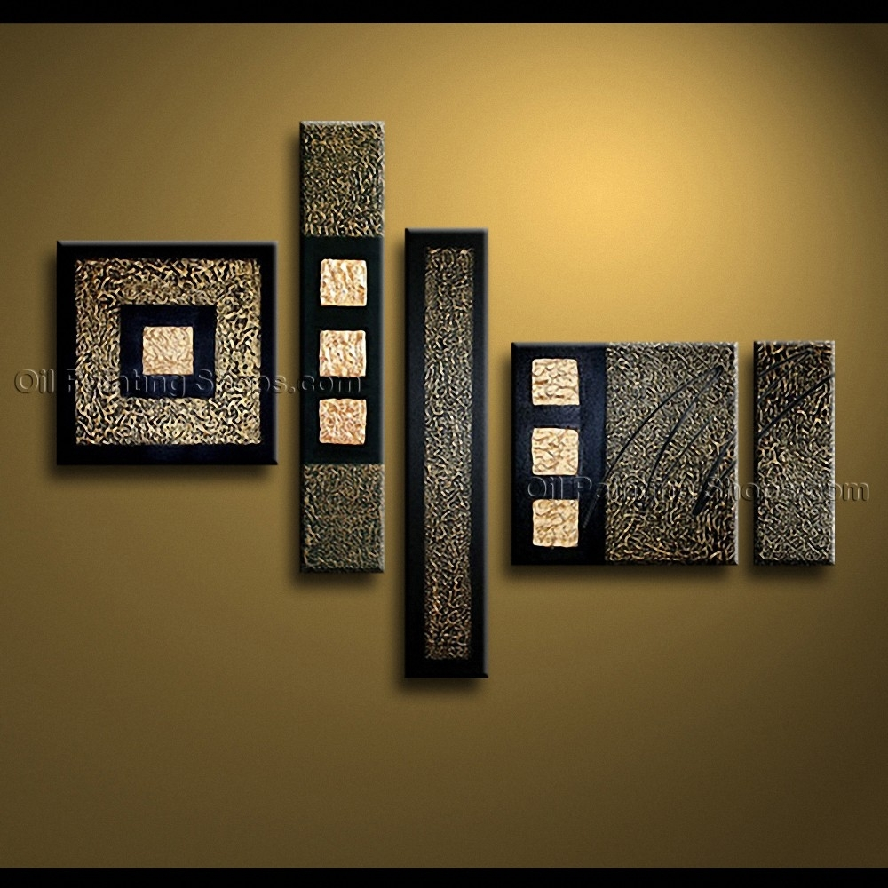 Painted Pentaptych Modern Abstract Painting Wall Art Inner Stretched Within Most Current Abstract Wall Art Canvas (View 17 of 20)