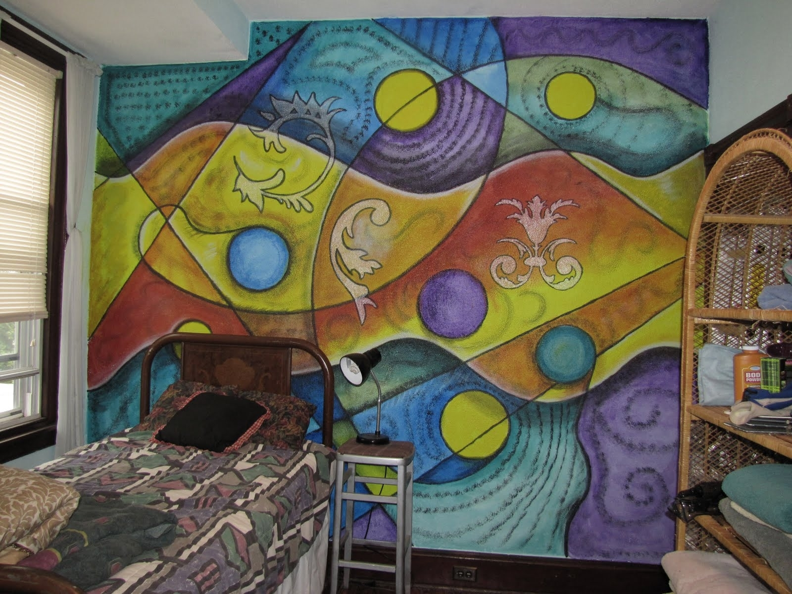 Painting A Colorful Abstract Mural | Mssurreal Intended For Current Abstract Art Wall Murals (View 8 of 20)