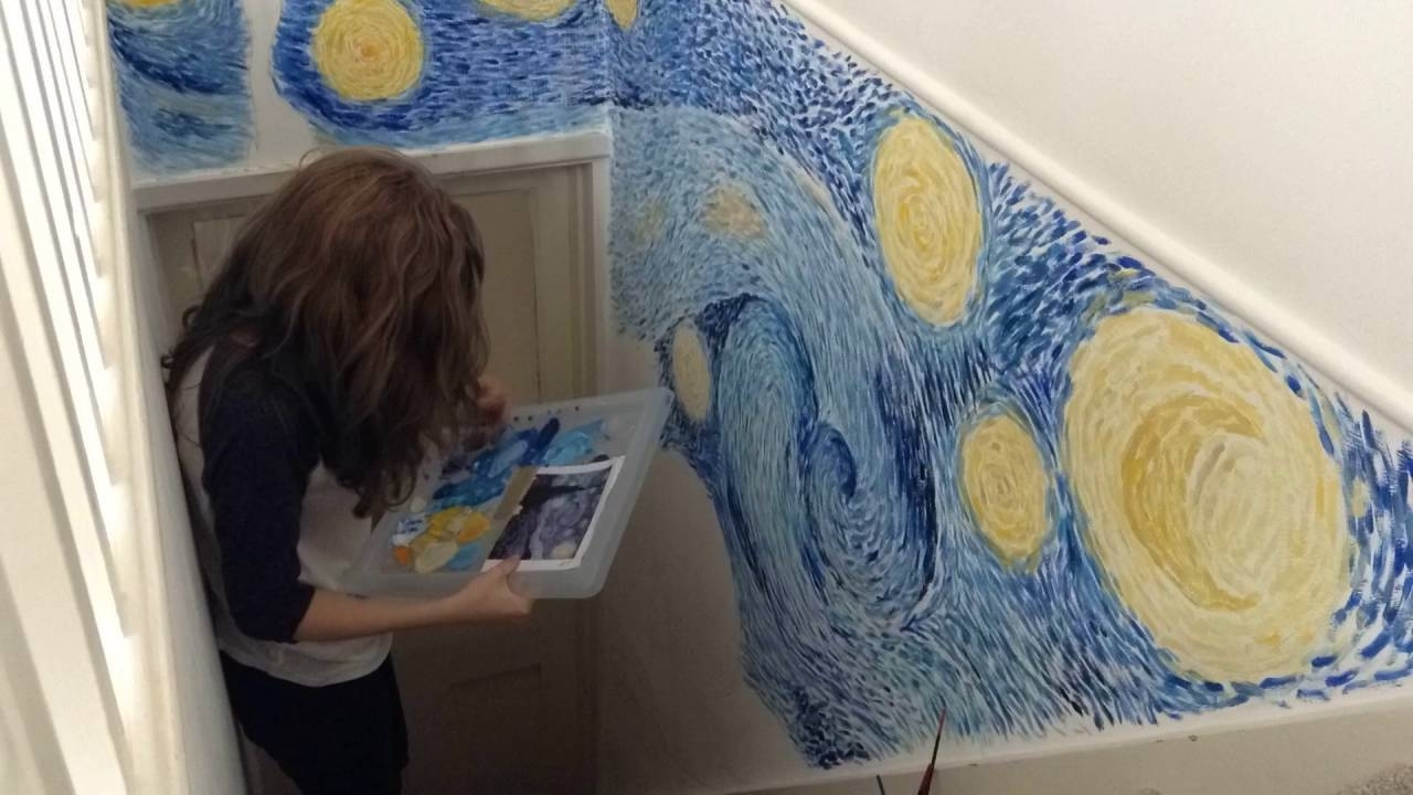 Painting Starry Nightvan Gogh On My Wall  Part 2 – Youtube For Most Popular Vincent Van Gogh Wall Art (View 12 of 20)