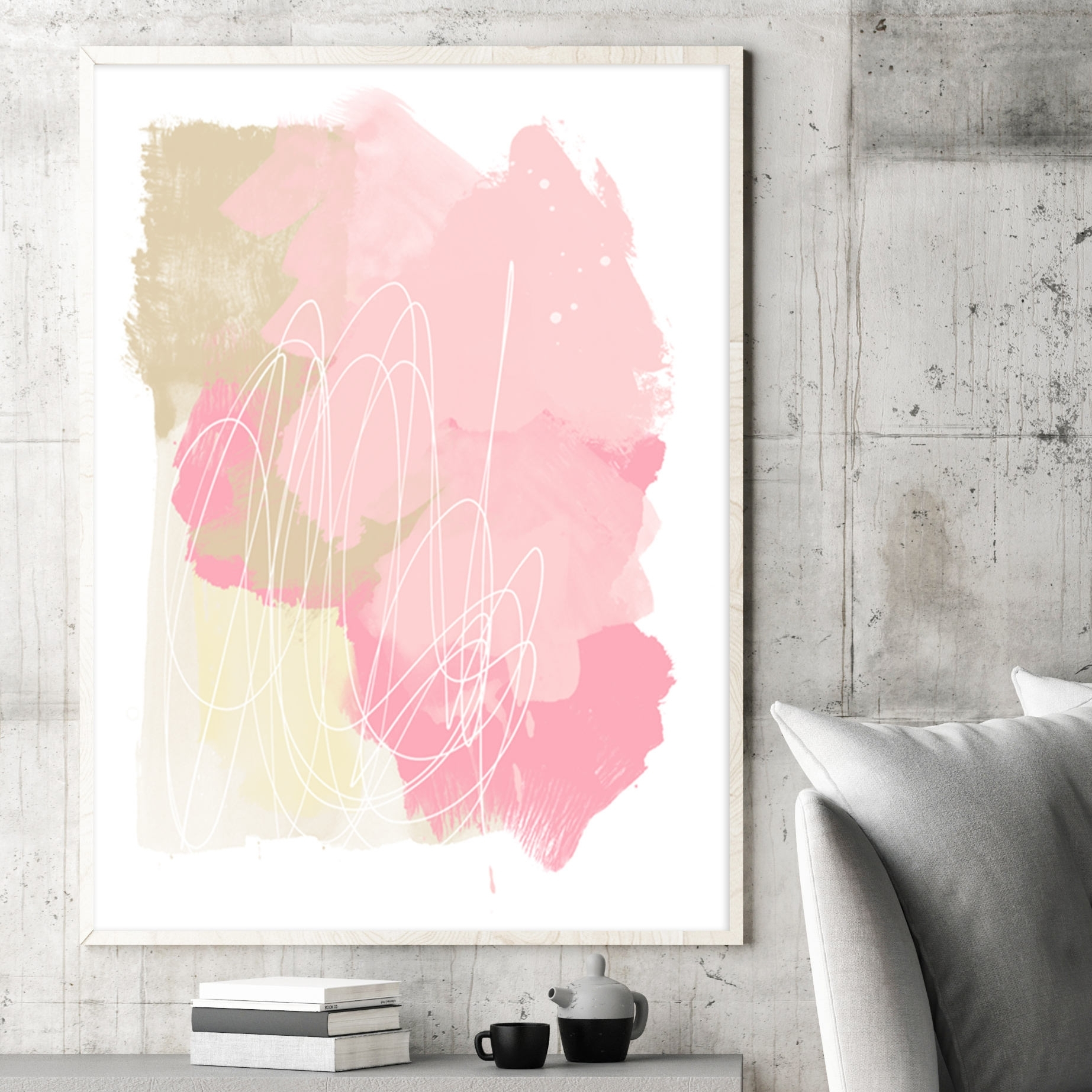 Pale Pink Abstract Art, Pink And Beige Painting, Printable Modern inside Newest Pink Abstract Wall Art