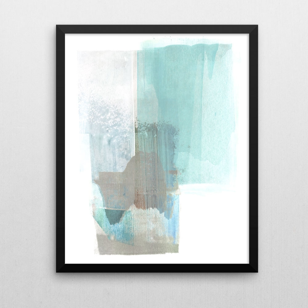 Pale Turquoise Blue & Brown Abstract Wall Art, Scandinavian Art within Most Recent Blue And Brown Abstract Wall Art