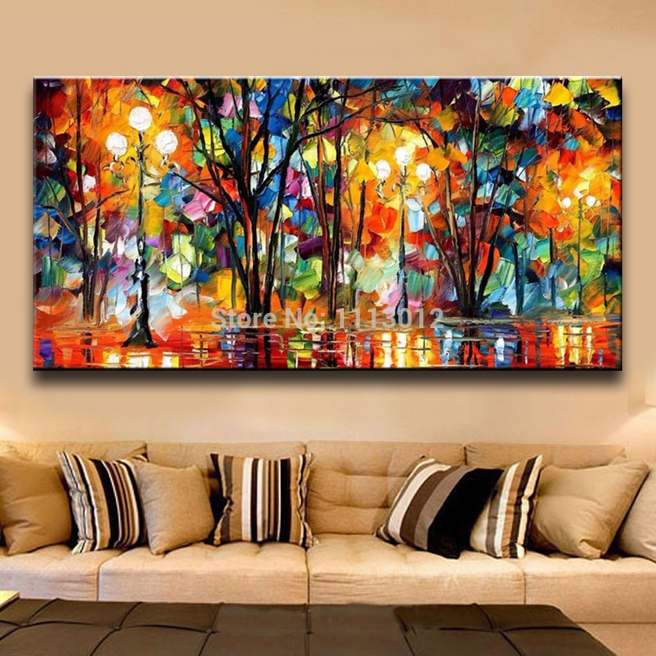 Palette Knife Large Multicolor Abstract Oil Painting On Canvas In Most Popular Large Abstract Canvas Wall Art (View 17 of 20)