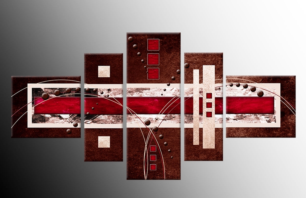 Panel Brown Red Cream Abstract Wall Art Canvasprint 58 Inch 148Cm For Current Brown Abstract Wall Art (View 17 of 20)