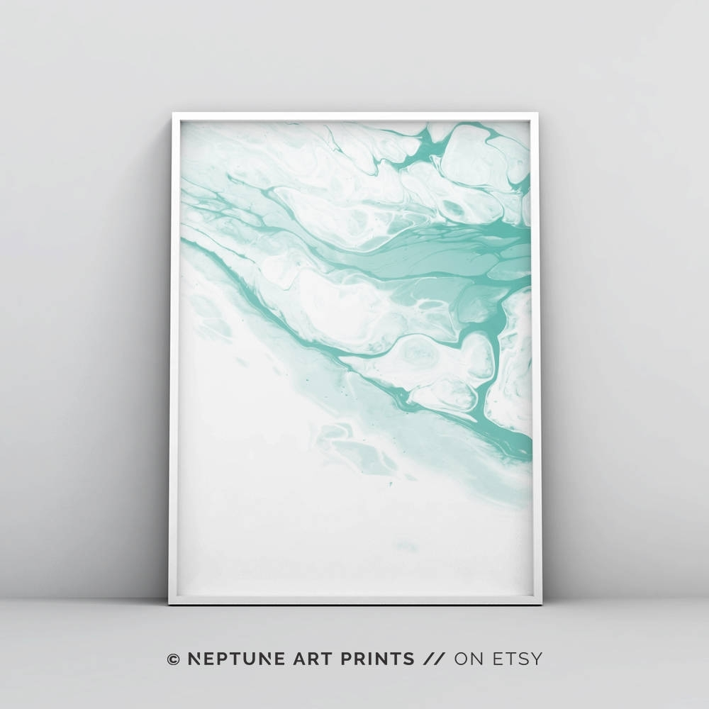 Pastel Art Mint Green Wall Art Mint Green Art Watercolor Pertaining To Most Recent Pastel Abstract Wall Art (View 17 of 20)