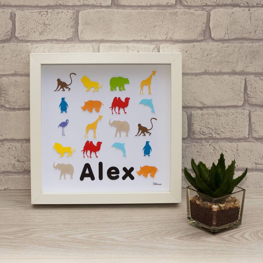 Personalised Framed 3D Zoo Animal Paper Wall Artframes intended for Current 3D Animal Wall Art