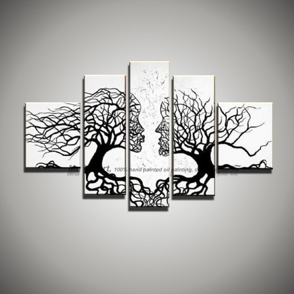 Picture Canvas Wall Art Black White Painting Art Modern Abstract with Most Up-to-Date Black And White Abstract Wall Art