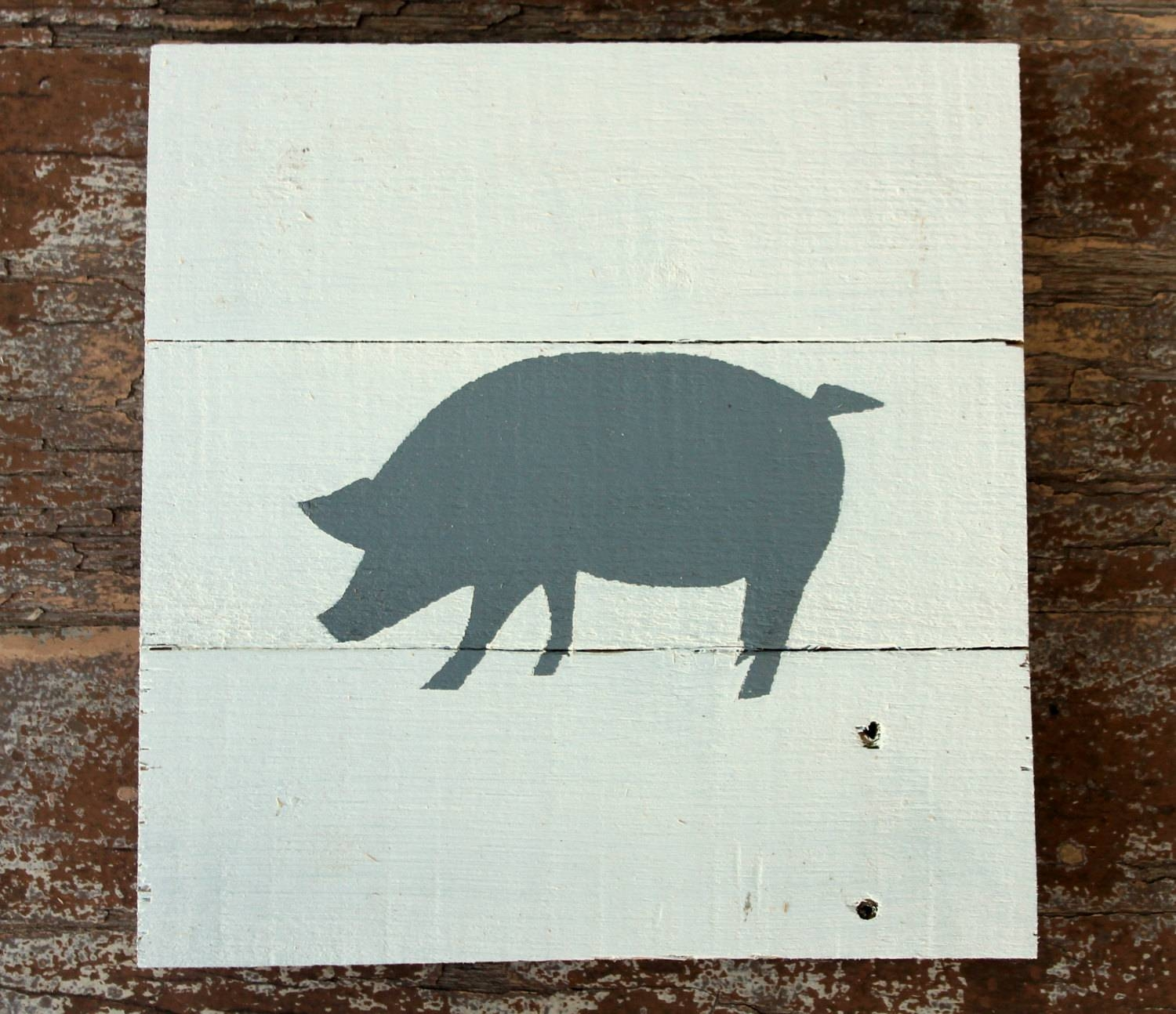 Pig Sign Wooden Pig Pig Painting Pig Wall Art Pig Nursery for Most Current Farm Animal Wall Art