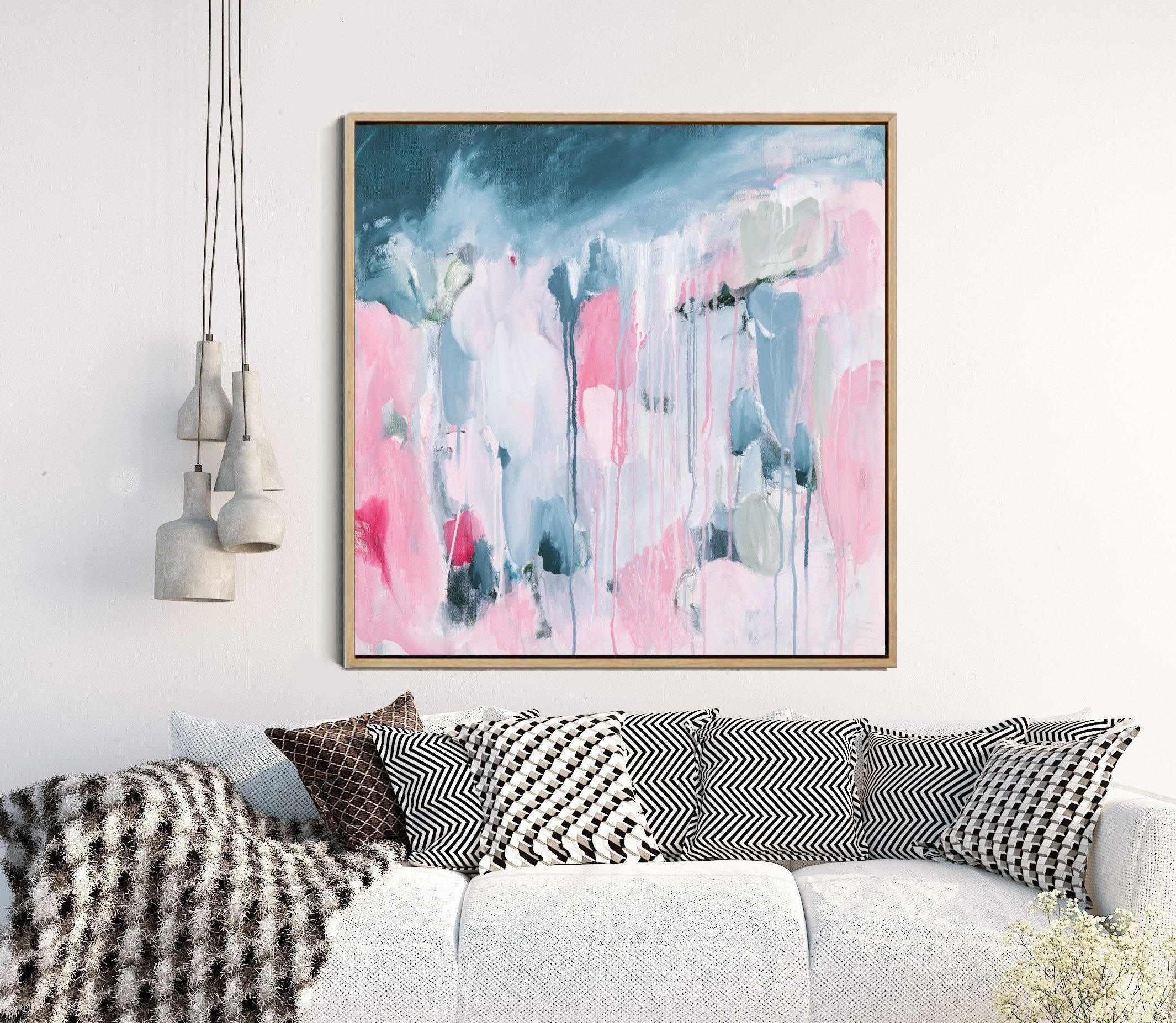 Pink Abstract Print Abstract Wall Art Giclee Print Pink And With Current Pink Abstract Wall Art (View 15 of 20)