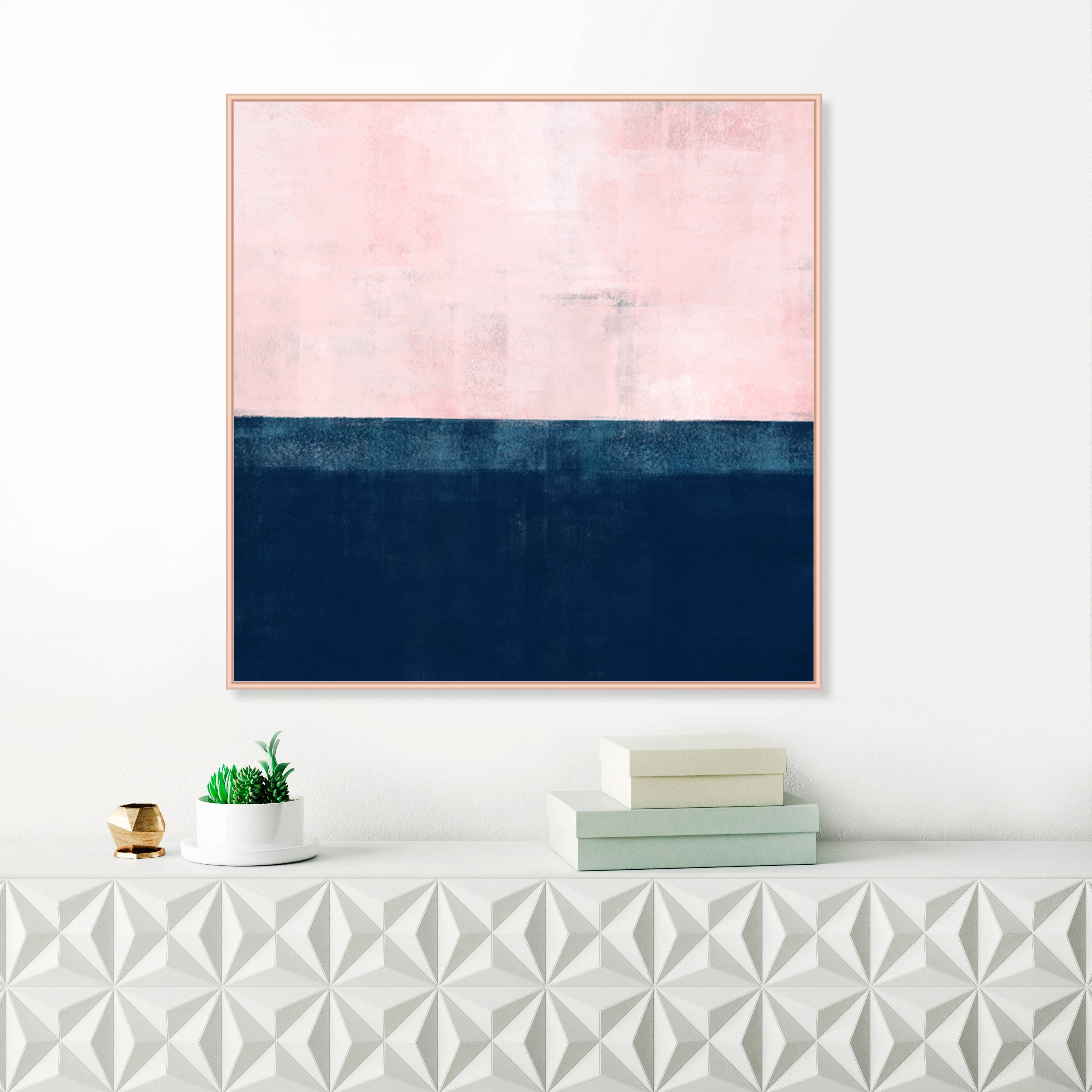 Pink and navy blue abstract art pink wall art pink painting throughout 2017 john
