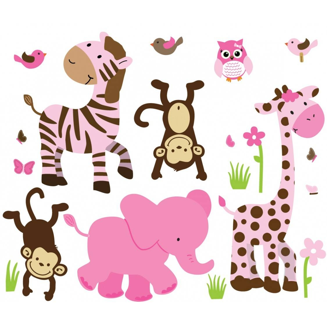 Pink & Green Jungle Nursery Wall Decals For Children within 2018 Safari Animal Wall Art