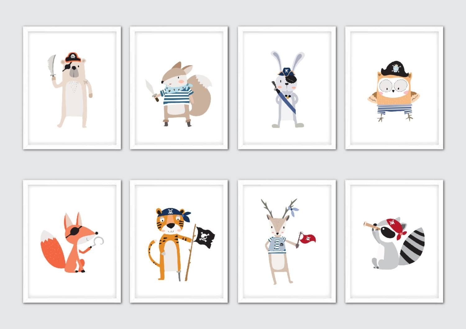 Pirate Nursery Art Pirate Decor Pirate Wall Art Pirate With Regard To Most Recently Released NurseryAnimal Wall Art (View 18 of 20)