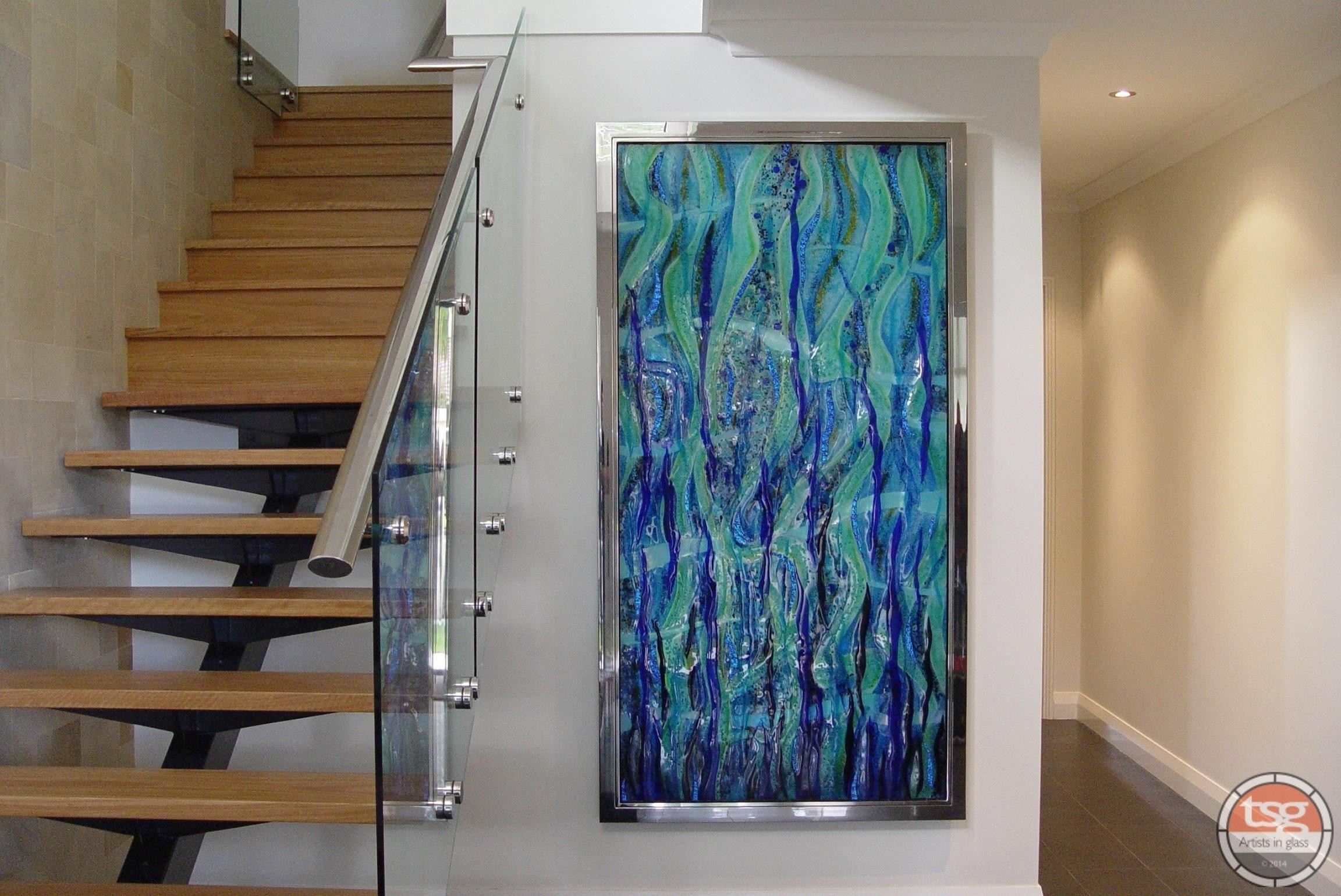Popular Beach Triptych Fused Glass Wall Artjo Downs Beach intended for Current Abstract Fused Glass Wall Art