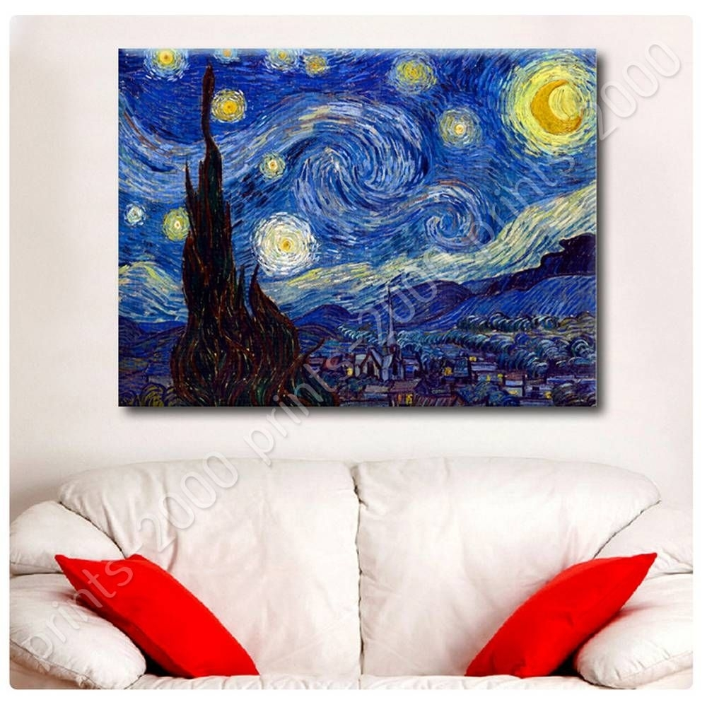 Poster Or Sticker Decals Vinyl Starry Night Vincent Van Gogh Wall In Most Current Vincent Van Gogh Wall Art (View 15 of 20)