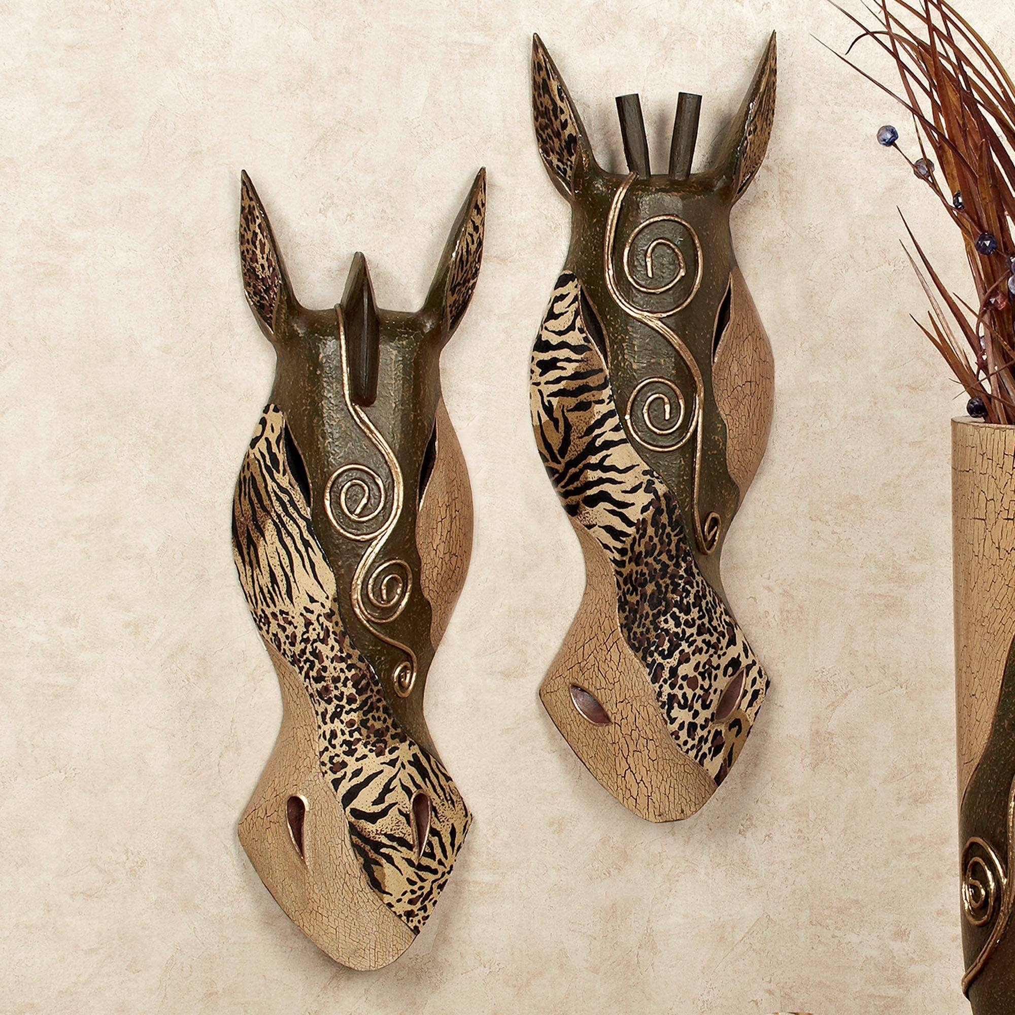 Primal Animal Print Mask Wall Art Set Regarding Most Up To Date Metal Animal Wall Art (View 15 of 20)