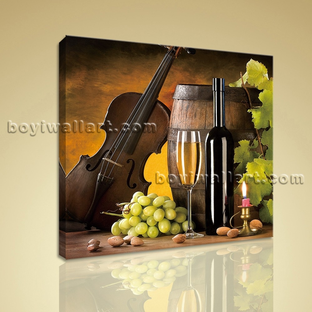 Print Abstract Painting Wall Art On Canvas Wine Food Dining Room In Latest