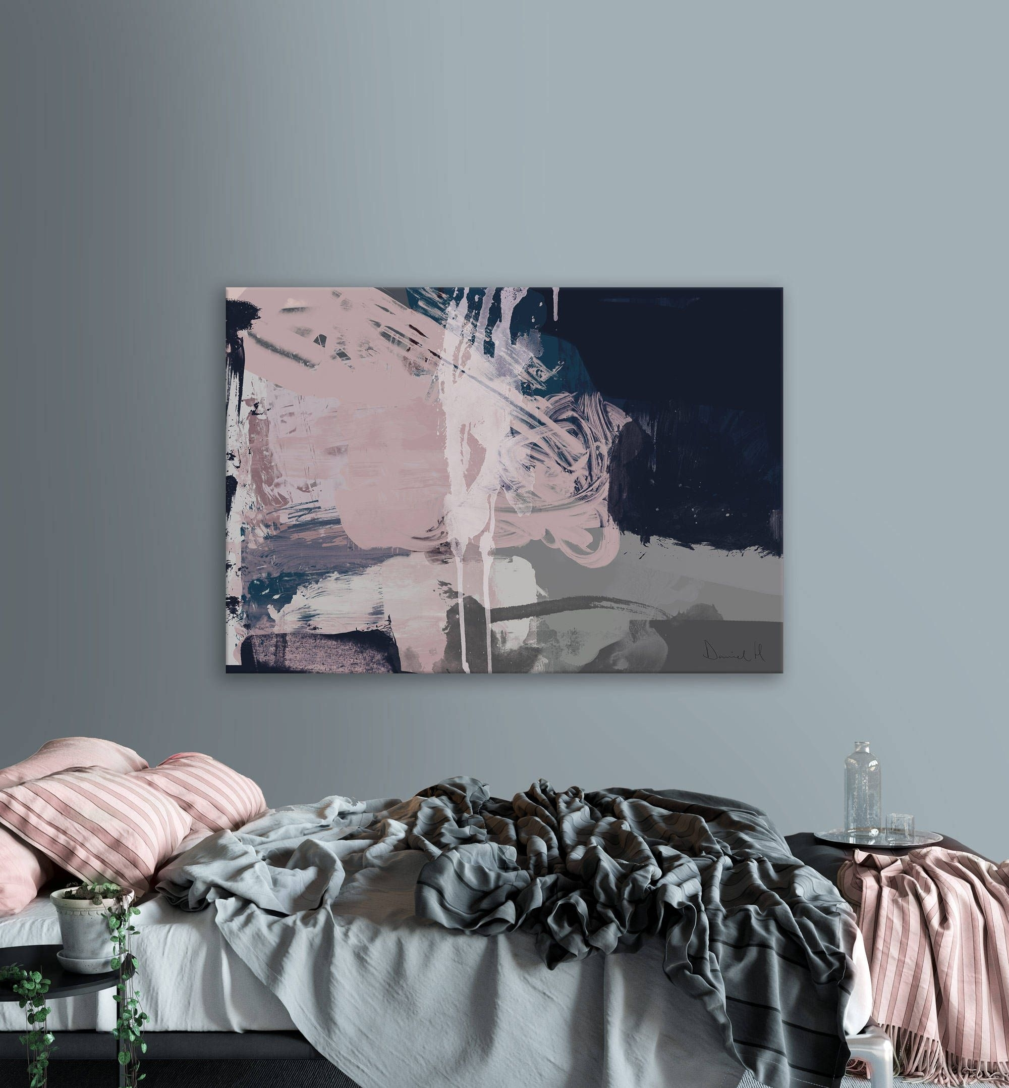Printable Abstract Art, Navy Blue And Pink Art, Instant Download Within Latest Dwell Abstract Wall Art (View 14 of 20)