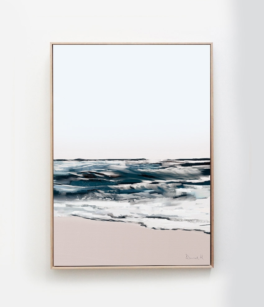 Printable Abstract Art, Seascape Painting, Digital Download In Latest Printable Abstract Wall Art (View 13 of 20)
