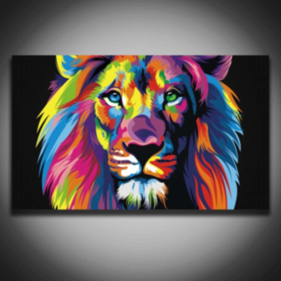 Printed Male Lion Animal Modular Picture Colorful Modern Painting inside Latest Abstract Lion Wall Art