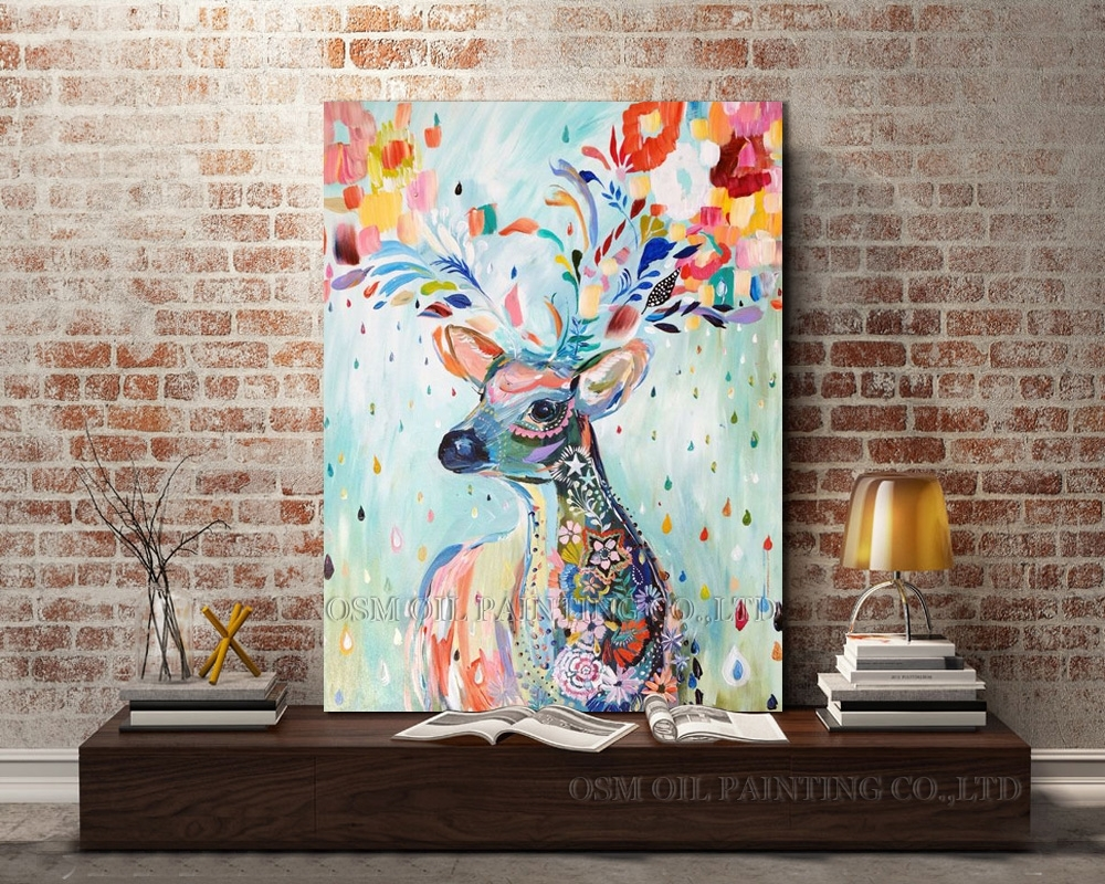 Professional Artist Hand Painted Bright Colors Lovely Deer Oil For Recent Abstract Deer Wall Art (View 16 of 20)