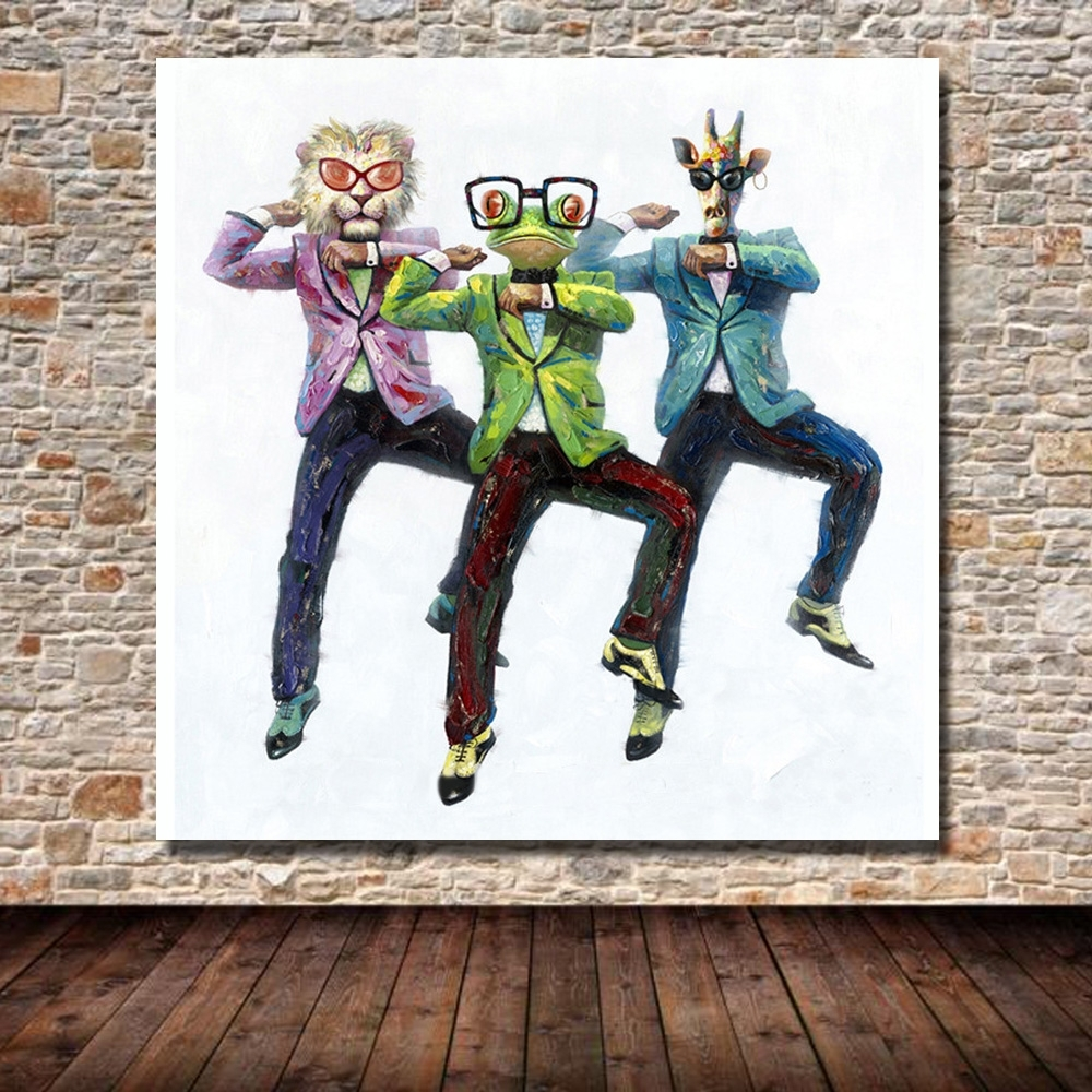 Psy Gangnam Style Dancing Picture Abstract Animal Head Human Body regarding Most Recently Released Abstract Body Wall Art