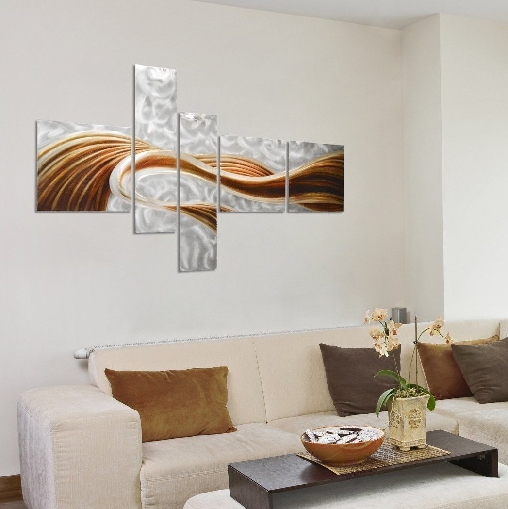 Pure Art Caramel Desire Contemporary Metal Artwork - Large Modern throughout Most Popular Abstract Wall Art For Living Room