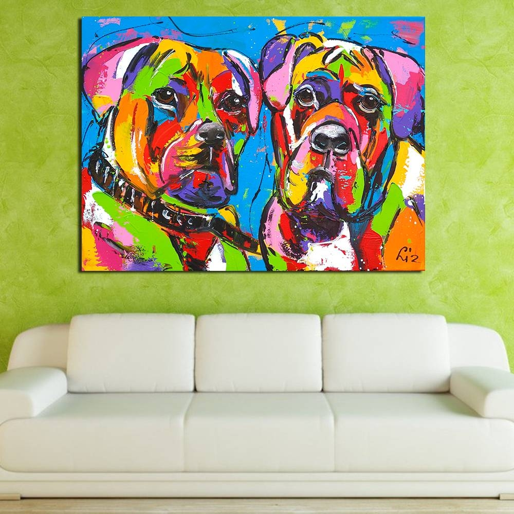 Qcart Colorful Two Dogs Animals Graffiti Oil Painting Canvas For Regarding Latest ColorfulAnimal Wall Art (View 18 of 20)