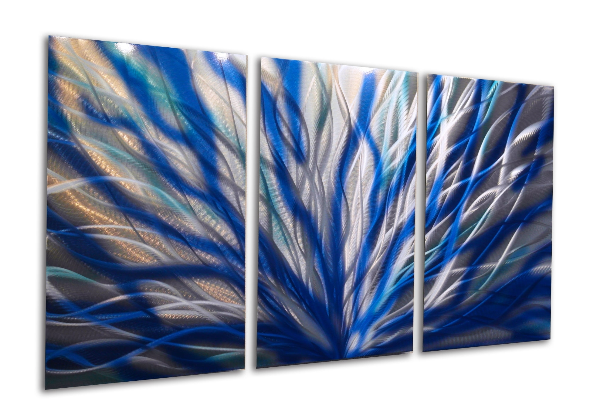Radiance Blue 47 V2 – Metal Wall Art Abstract Sculpture Modern Regarding Best And Newest Abstract Leaves Wall Art (Gallery 19 of 20)