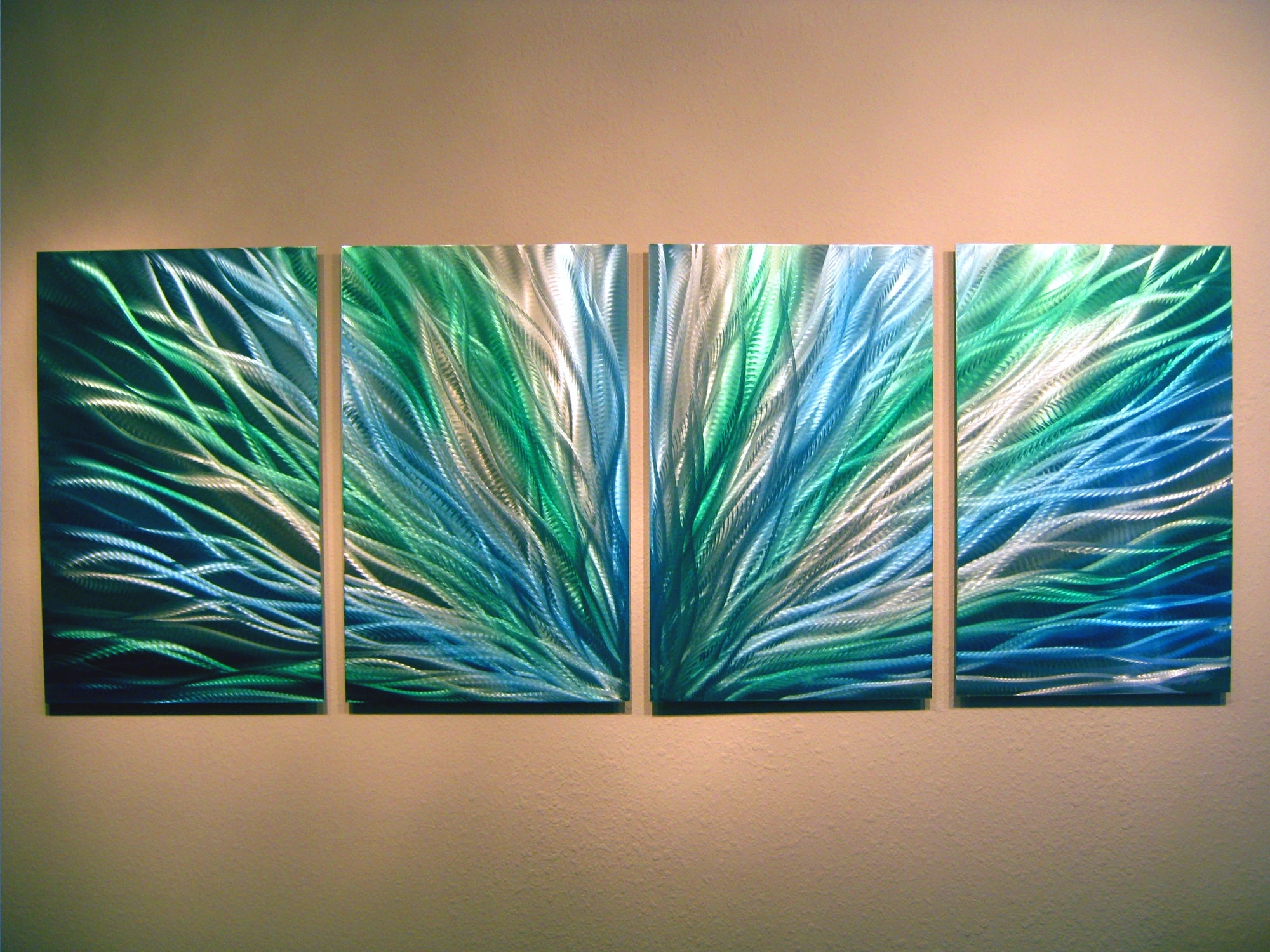 Radiance Blue Green  Abstract Metal Wall Art Contemporary Modern Regarding Most Popular Abstract Metal Wall Art Painting (View 16 of 20)