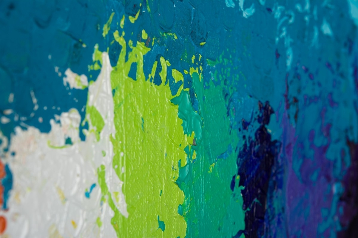 """Rainbow Flowersqiqigallery 30""""x24"""" Original Modern Abstract In Most Recently Released Blue Green Abstract Wall Art (View 13 of 20)"""