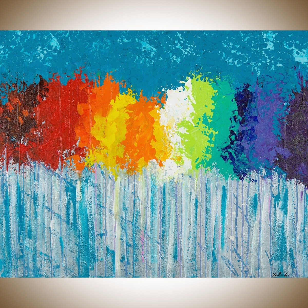 "Rainbow Flowersqiqigallery 30""x24"" Original Modern Abstract Intended For Most Up To Date Blue Abstract Wall Art (Gallery 14 of 20)"