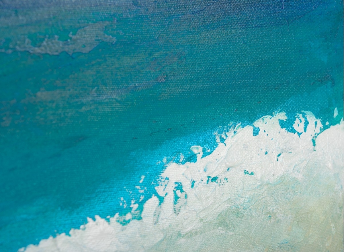 "Reach The Shoreqiqigallery 48""x24"" Original Large Blue For Most Up To Date Abstract Ocean Wall Art (View 8 of 20)"