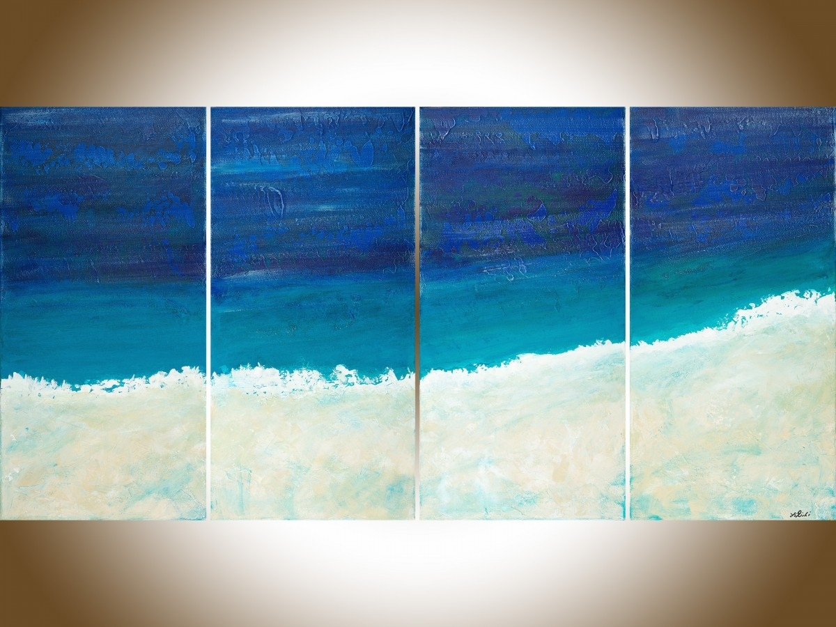 "Reach The Shoreqiqigallery 48""x24"" Original Large Blue With Regard To Most Popular Abstract Ocean Wall Art (View 7 of 20)"