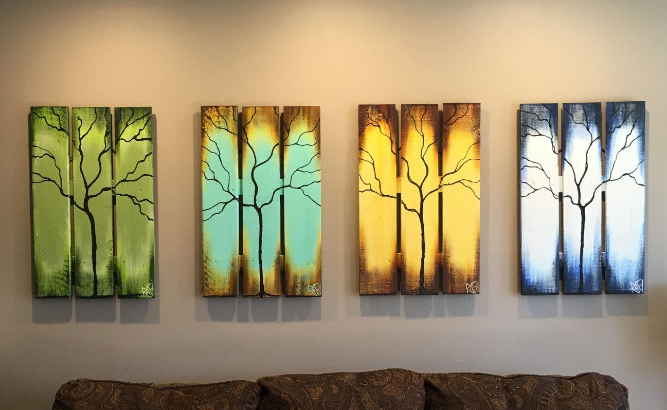 Reclaimed Wood Wall Art Seasons Of Change Abstract Tree Paintings Inside Most Popular Abstract Nature Wall Art (Gallery 13 of 20)