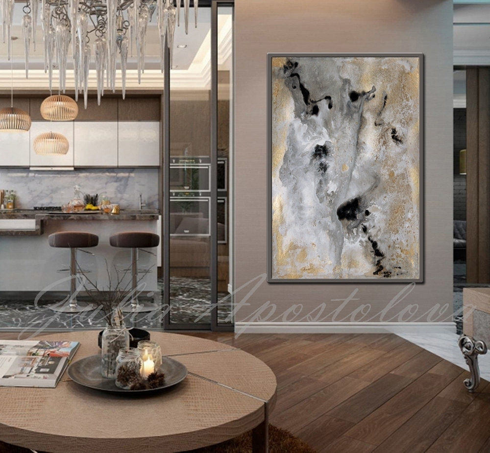 Rectangle Wall Art, Gold Leaf Print, Large Abstract Canvas Art Throughout Most Recently Released Black And Gold Abstract Wall Art (View 9 of 20)