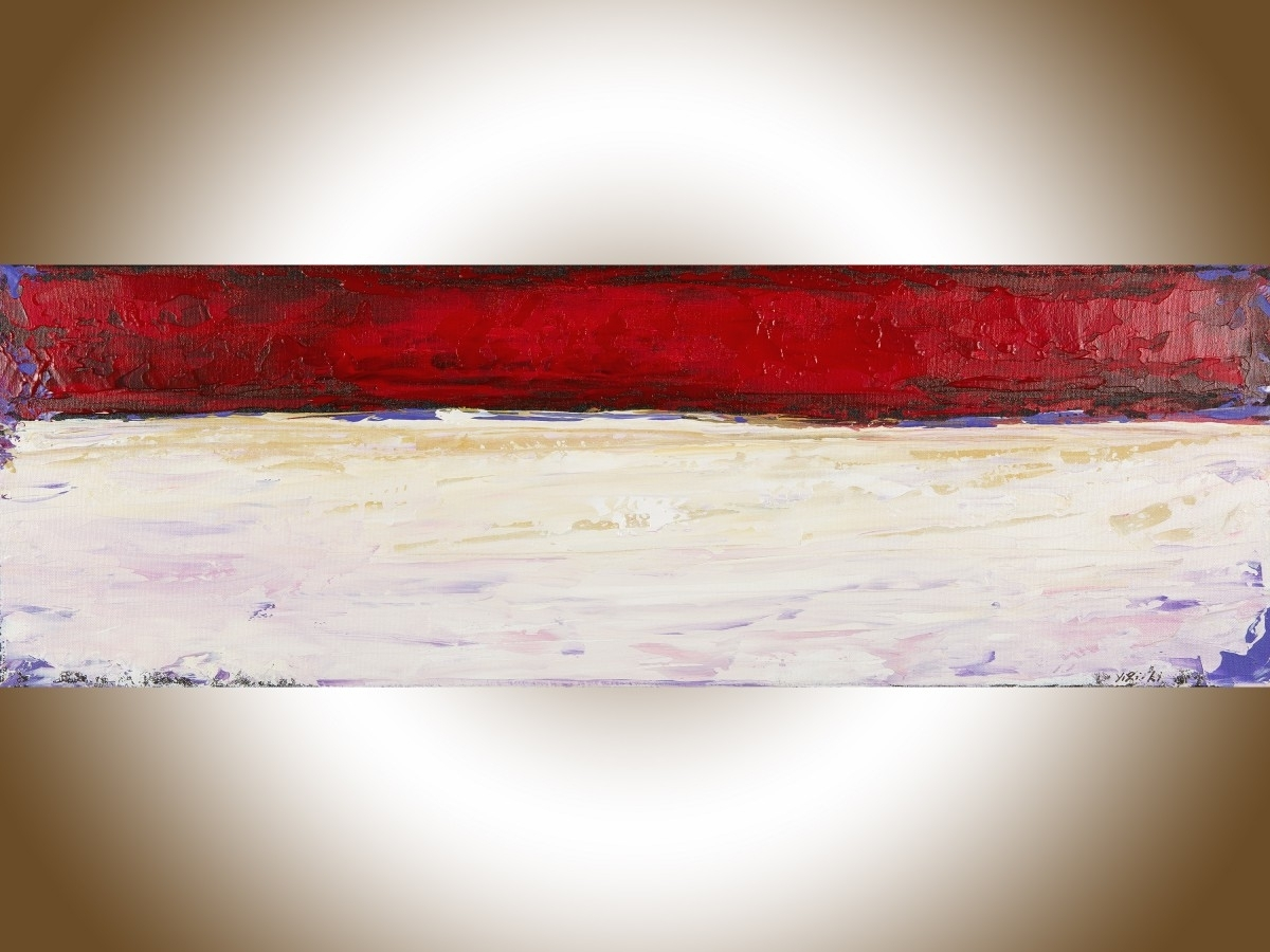 """Red Abstractqiqigallery 36"""" X 12"""" Abstract Landscape Painting Within Most Recently Released Abstract Art Wall Hangings (View 11 of 20)"""