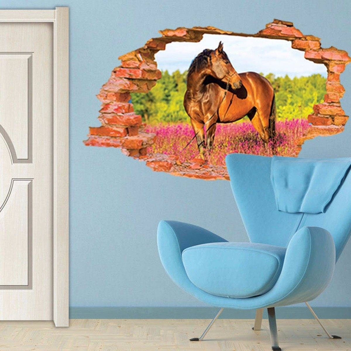 Removable Vinyl 3D Broken Horse Animal Wall Stickers Landscape With Regard To Most Up To Date 3D Animal Wall Art (Gallery 15 of 20)