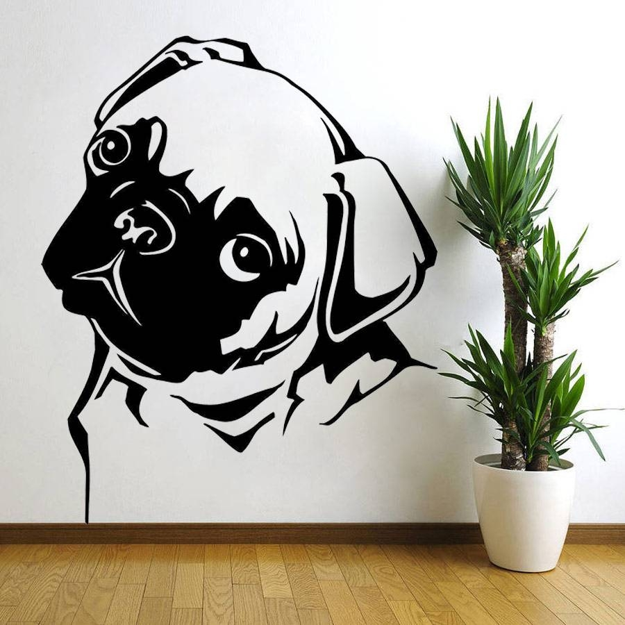 Removable Waterproof Pet Pug Dog Vinyl Wall Art Sticker Animal Within Most Popular Animal Wall Artstickers (View 6 of 20)