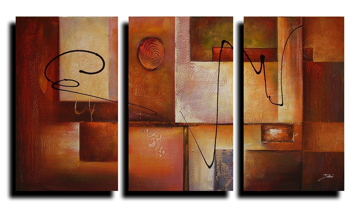 Reviews: Geometric Graphes Modern Abstract Oil Painting Canvas Inside Newest Modern Abstract Oil Painting Wall Art (View 16 of 20)