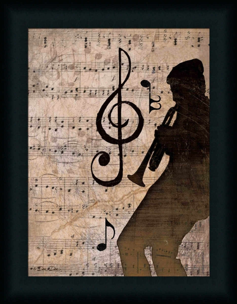 Rhythm Ii Vintage Music Notes Trumpet Art Print Framed | Music With Regard To Most Recently Released Abstract Musical Notes Piano Jazz Wall Artwork (View 15 of 20)