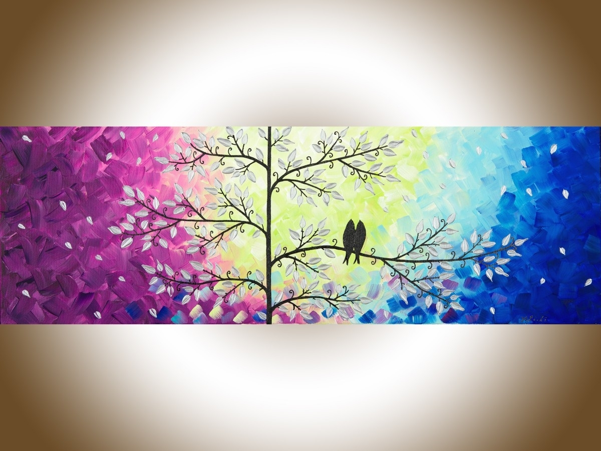 "Romantic Loveqiqigallery 36"" X 12"" Original Modern Abstract Intended For Most Recent Abstract Bird Wall Art (View 15 of 20)"