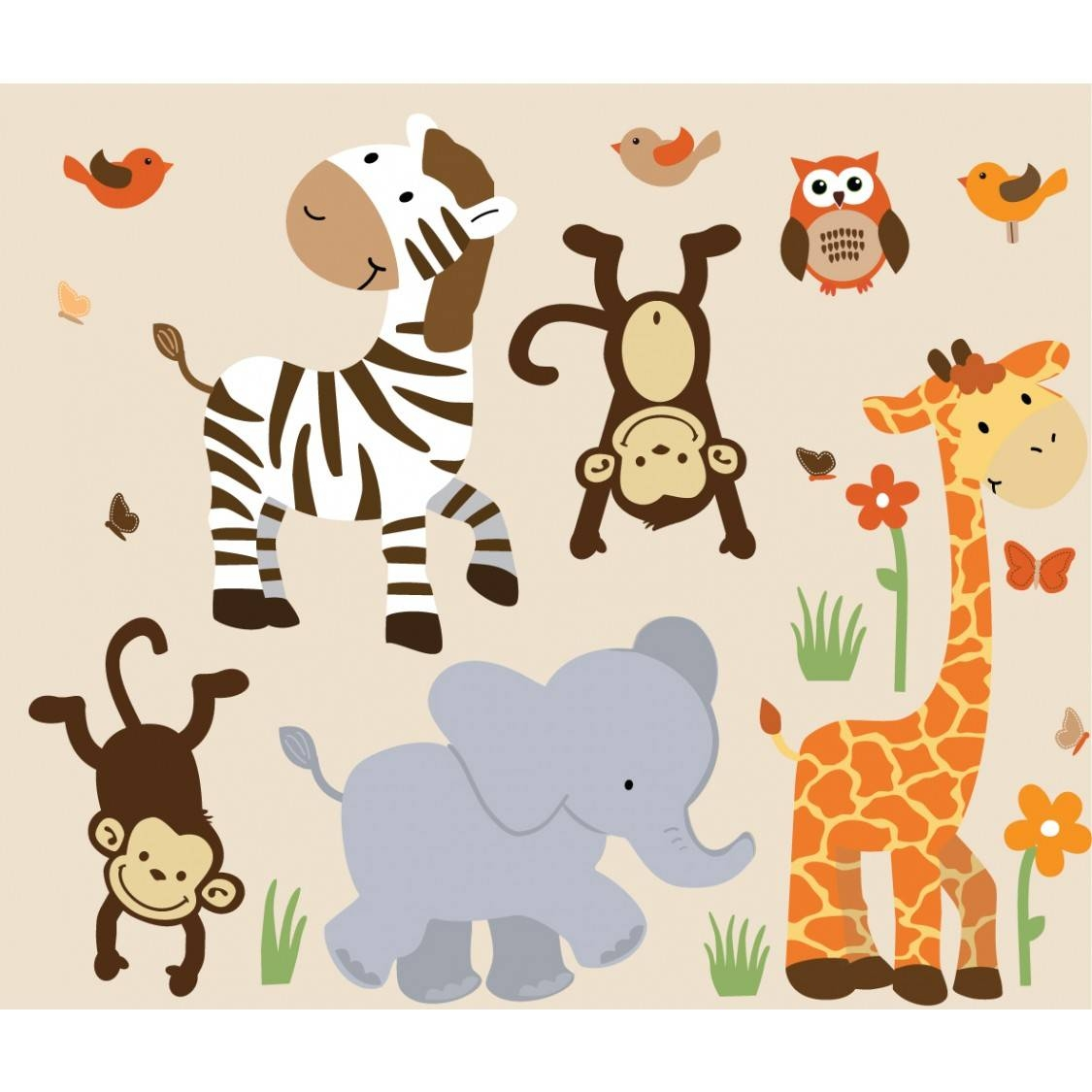 Safari Murals With Zebra Wall Decor For Boys Pertaining To Most Popular Jungle Animal Wall Art (View 18 of 20)